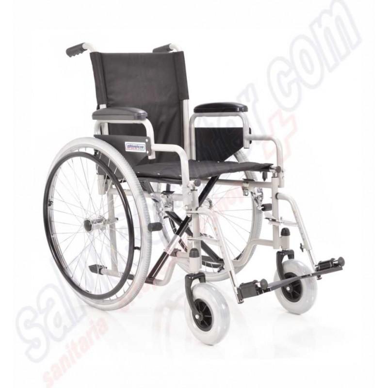 Sedia a Rotelle standard pieghevole in acciaio braccioli corti estraibili