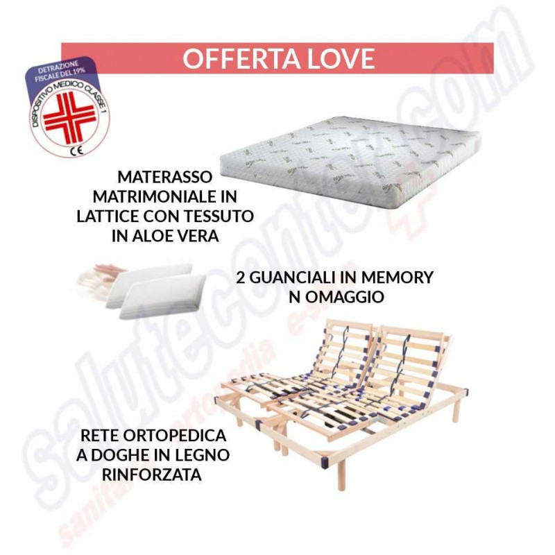Love - letto matrimoniale rete a doghe + materasso + 2 cuscini