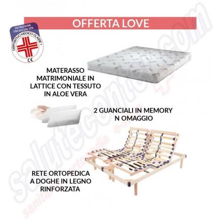 Offerta Love - letto matrimoniale rete a doghe + materasso + 2 cuscini