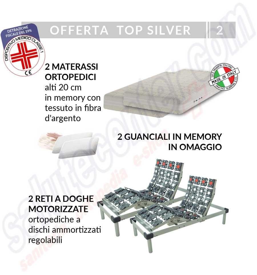 2 reti motorizzate a dischi ammortizzati e 2 materassi memory silver