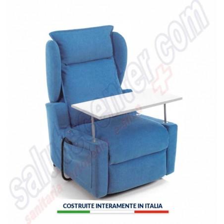 FIRENZE 4: poltrona relax sfoderabile alza persona con tavolino e 4 ruote