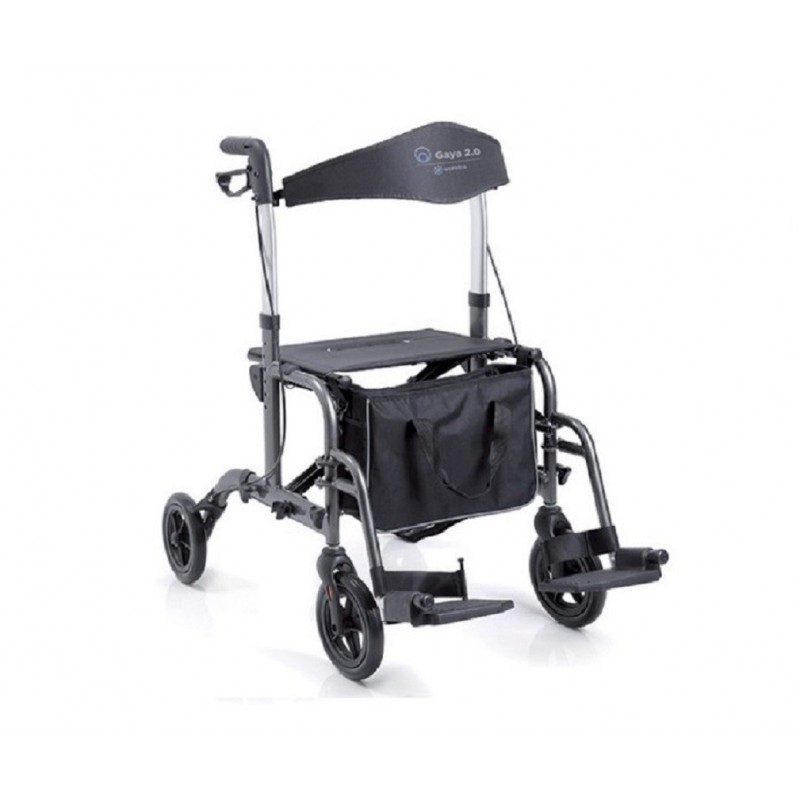 Deambulatore Rollator a 4 Ruote in alluminio con sedile e schienale doppia funzione