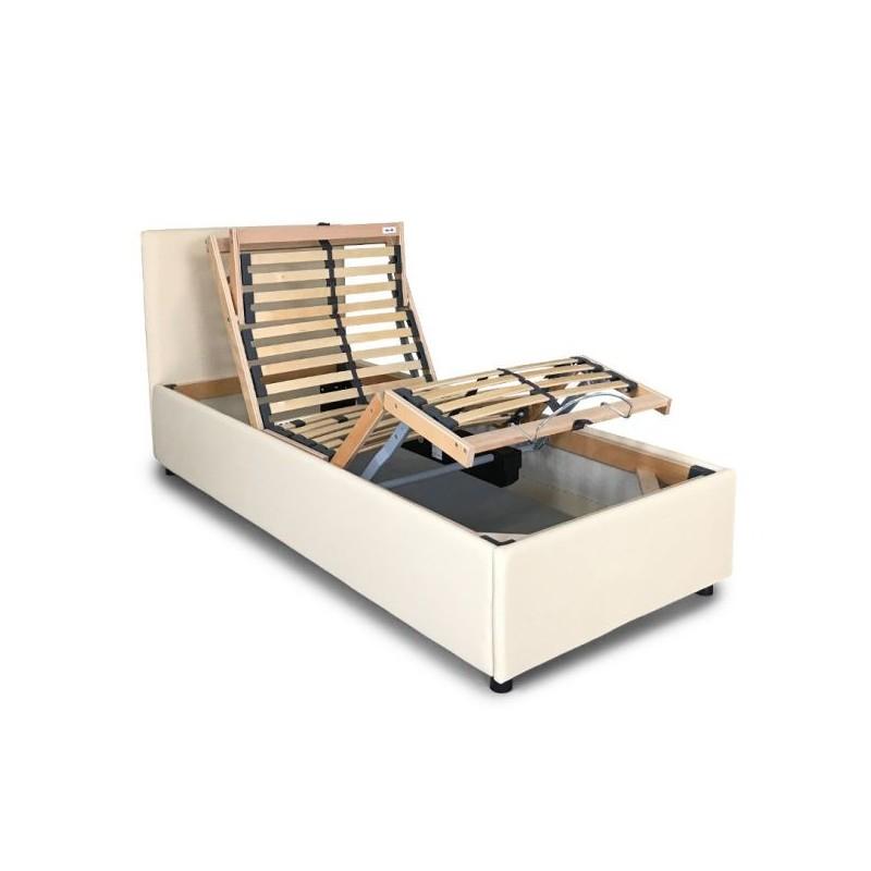 Letto imbottito in eco pelle con rete motorizzata a doghe in legno