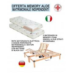 Rete elettrica a doghe motorizzata e materasso memory con tessuto aloe