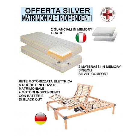 Offerta silver memory rete motorizzata a doghe con due materassi singoli