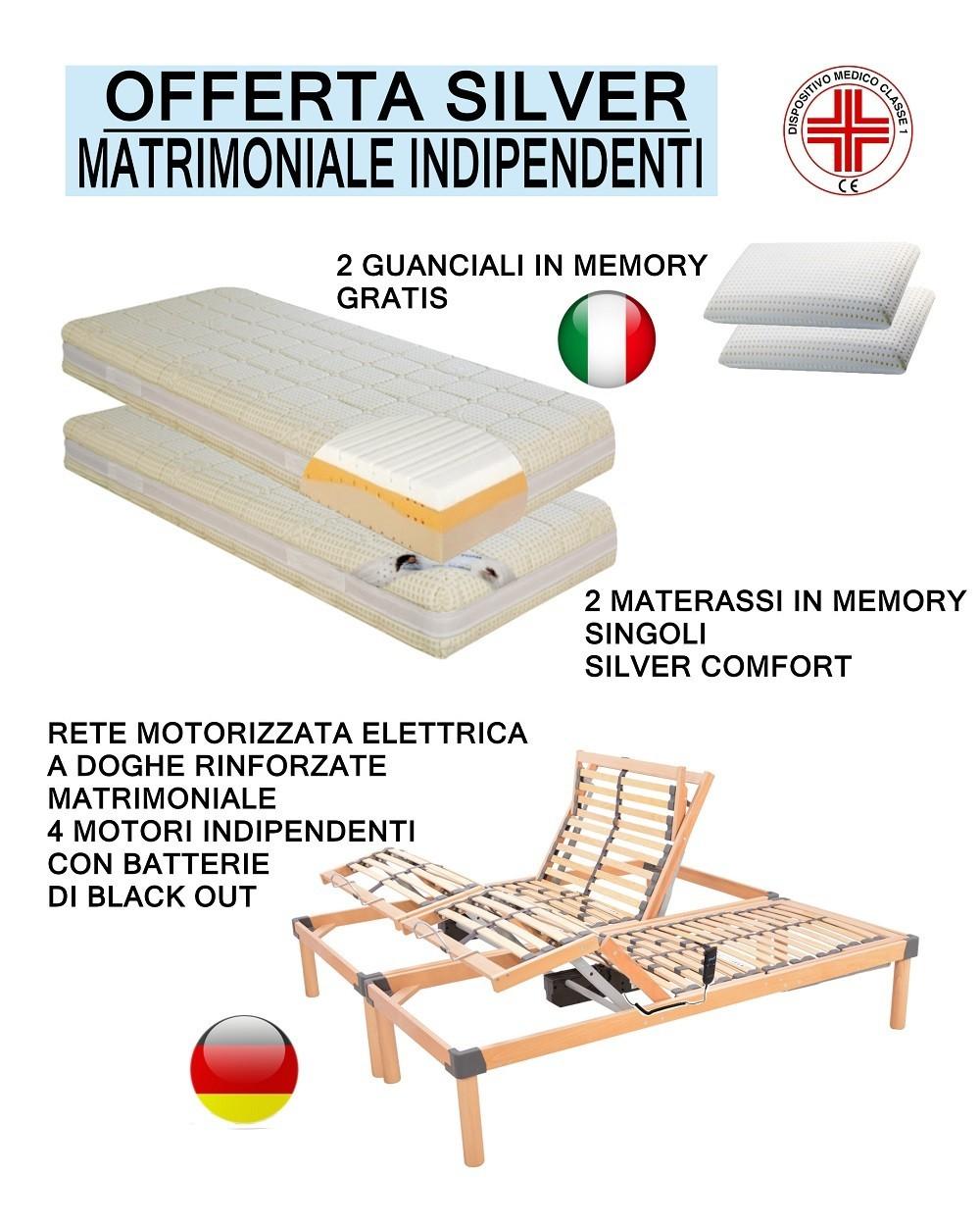 Materassi Terracina.Offerta Silver Memory Rete Motorizzata A Doghe Con Due Materassi Si