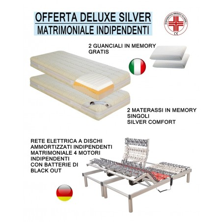 Offerta silver memory deluxe rete motorizzata a dischi e due materassi singoli