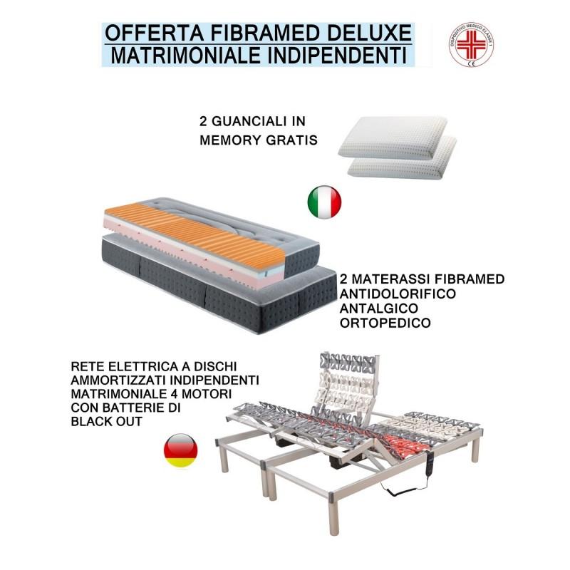 Offerta Fibramed Deluxe Rete motorizzata a dischi e materasso oscar ortopedico più due guanciali omaggio