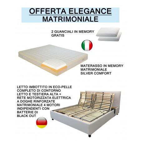 Veneto - Letto contenitore con giroletto imbottito in eco-pelle completo di materasso e guanciale