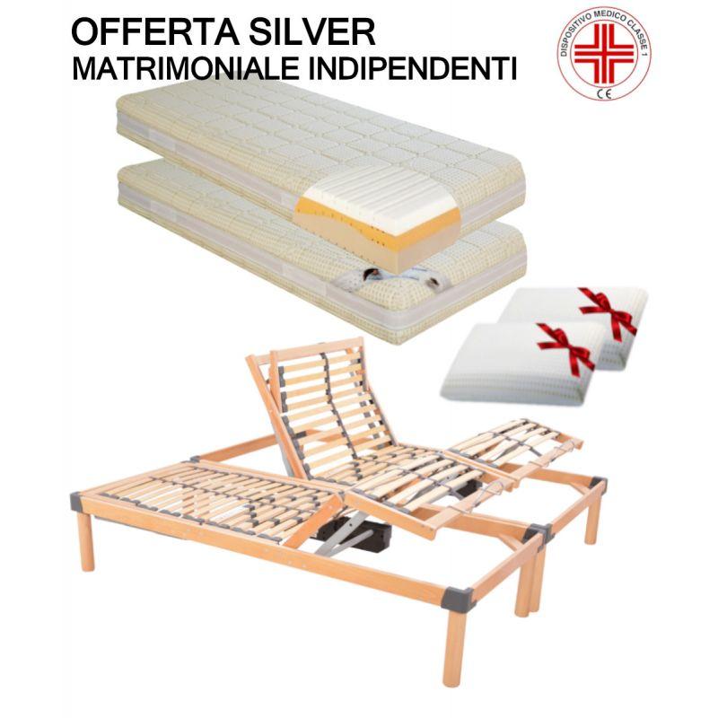 Offerta silver memory rete motorizzata a doghe Con Materasso